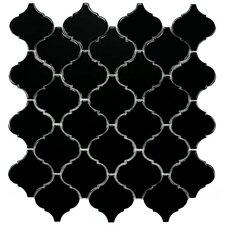 "Beacon 12-1/2"" x 12-1/2"" Glazed Porcelain Mosaic in Glossy Black"