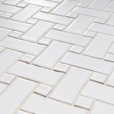 "<strong>EliteTile</strong> Basket Weave 9-3/4"" x 9-3/4"" Glazed Porcelain Mosaic in White"