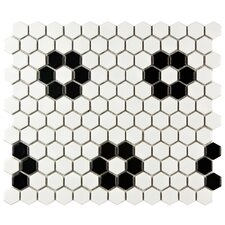 "Retro 7/8"" x 7/8"" Porcelain Glazed Mosaic in Matte White (Set of 10)"