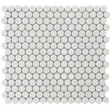 "<strong>EliteTile</strong> Penny 12-1/4"" x 12"" Glazed Porcelain Mosaic in White"