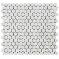 Penny Glazed Porcelain Mosaic in White (Set of 10)