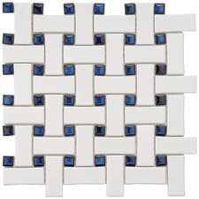 "Basket Weave 9-3/4"" x 9-3/4"" Glazed Porcelain Mosaic in White and Blue"