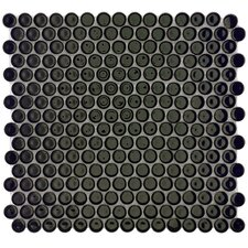"Penny 3/4"" x 3/4"" Porcelain Glazed and Glossy Mosaic in Black"