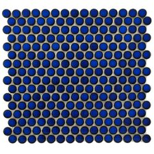 "Penny 12-1/4"" x 12"" Glazed Porcelain Mosaic in Blue Eye"