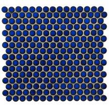 "Penny 3/4"" x 3/4"" Glazed Porcelain Mosaic in Blue Eye"