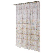 <strong>Carnation Home Fashions</strong> Carmen Butterfly Print Crushed Voile Ruffle Tier Polyester Fabric Shower Curtain