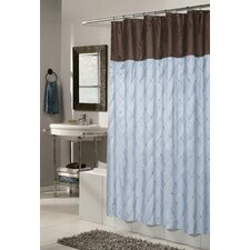 Diamond Patterned Embroided Polyester Shower Curtain