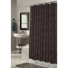 <strong>Carnation Home Fashions</strong> Geneva Polyester Fabric Shower Curtain with Flocking