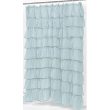 Carmen Crushed Voile Ruffled Tier Polyester Fabric Shower Curtain