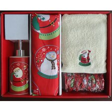 Santa's Globe Holiday Print Shower Curtain Set