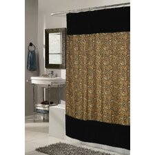 Animal Instincts Polyester Sable Faux Fur Trimmed Shower Curtain