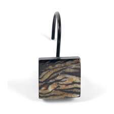 "Animal Instincts ""Felina"" Pattern Resin Shower Curtain Hooks (Set of 12)"