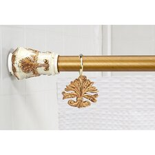 """Fleur Dis Lis"" Steel Shower Curtain Tension Rod with Decorative Resin Finials"