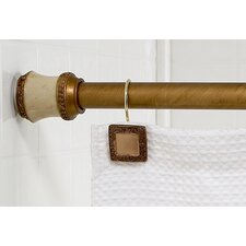 """Lakewood"" Steel Shower Curtain Tension Rod with Decorative Resin Finials"