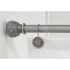 """Sheffield"" Steel Shower Curtain Tension Rod with Decorative Resin Finials"