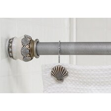 """Seaside"" Steel Shower Curtain Tension Rod with Decorative Resin Finials"