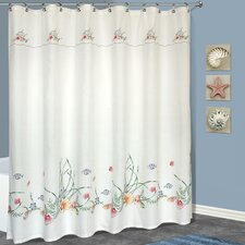 <strong>United Curtain Co.</strong> Seashell Polyester Shower Curtain