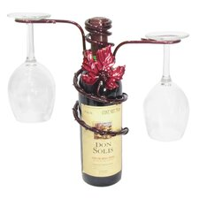 <strong>Metrotex Designs</strong> Grapevine Style Iron 2 Stem Holder Wine Bottle Topper