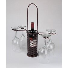 Industrial Evolution Heavy Mesh Single Bottle Carrier with Four Stem Glass Holders