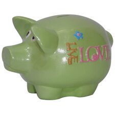 Girly Chic Double Sided Live, Love, Laugh Piggy Bank