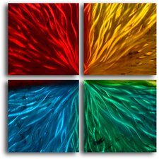 """Four Square Colored Ripples"" 4 Piece Contemporary Handmade Metal Wall Art Set"