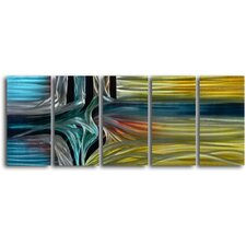 "<strong>My Art Outlet</strong> ""Intersection"" 5 Piece Contemporary Handmade Metal Wall Art Set"