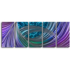 "<strong>My Art Outlet</strong> ""Shoot the Gap"" 5 Piece Handmade Metal Wall Art Set"