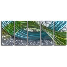 "<strong>My Art Outlet</strong> ""Estuary Forms"" 5 Piece Handmade Metal Wall Art Set"