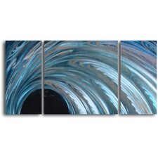 "<strong>My Art Outlet</strong> ""Frozen Arc"" 3 Piece Handmade Metal Wall Art Set"