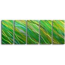 "<strong>My Art Outlet</strong> ""Forest in the Sea"" 5 Piece Handmade Metal Wall Art Set"