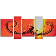 'Evening Firelight' 5 Piece Original Painting on Canvas Set
