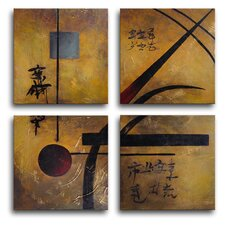 Asian Gold 4 Piece Painting Print on Canvas Set