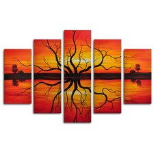 Sunset Reflection 5 Piece Painting Print on Canvas Set