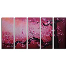 "Hand Painted ""Cochineal Black Trunked Cherry"" 5-Piece Canvas Art Set"