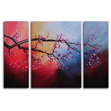 "<strong>My Art Outlet</strong> Hand Painted ""Cotton Candy Sky Blossom"" 3-Piece Canvas Art Set"