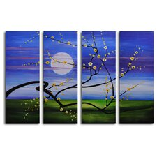 "Hand Painted ""Reach Across the Moon"" 4-Piece Canvas Art Set"