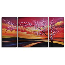 "<strong>My Art Outlet</strong> Hand Painted ""Painted Sky"" 3-Piece Canvas Art Set"