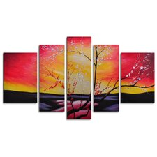 "<strong>My Art Outlet</strong> Hand Painted ""The Great Beyond"" 5-Piece Canvas Art Set"