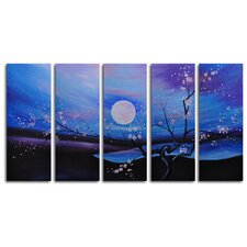 "<strong>My Art Outlet</strong> Hand Painted ""Moonlit Pond"" 5-Piece Canvas Art Set"
