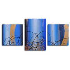 "<strong>My Art Outlet</strong> Hand Painted ""Bubbling Up"" 3-Piece Canvas Art Set"