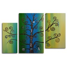 "Hand Painted ""Coiling Tendrils"" 3-Piece Canvas Art Set"