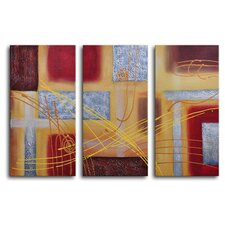 "Hand Painted ""Conducting on Metal"" 3-Piece Canvas Art Set"