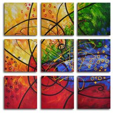 Stained Glass 9 Piece Original Painting on Canvas Set