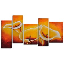 "<strong>My Art Outlet</strong> Hand Painted ""Cloaked in Light"" 5-Piece Canvas Art Set"