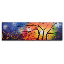 "<strong>My Art Outlet</strong> Hand Painted ""Ethereal Trees Dance"" Canvas Wall Art - 12"" x 40"""