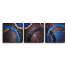 "<strong>My Art Outlet</strong> Hand Painted ""Circulation"" 3-Piece Canvas Art Set"