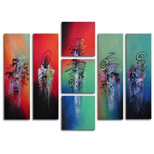 "<strong>My Art Outlet</strong> Hand Painted ""Hanging Lanterns"" 7-Piece Canvas Art Set"