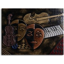 "<strong>My Art Outlet</strong> Handmade ""Masked Trio"" Leather Wall Art"