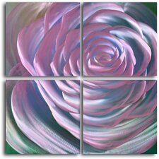 Ensnaring Fushsia Rose 4 Piece Original Painting Plaque Set