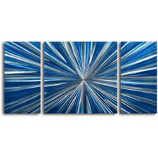 """High Impact Splash"" 3 Piece Contemporary Handmade Metal Wall Art Set"